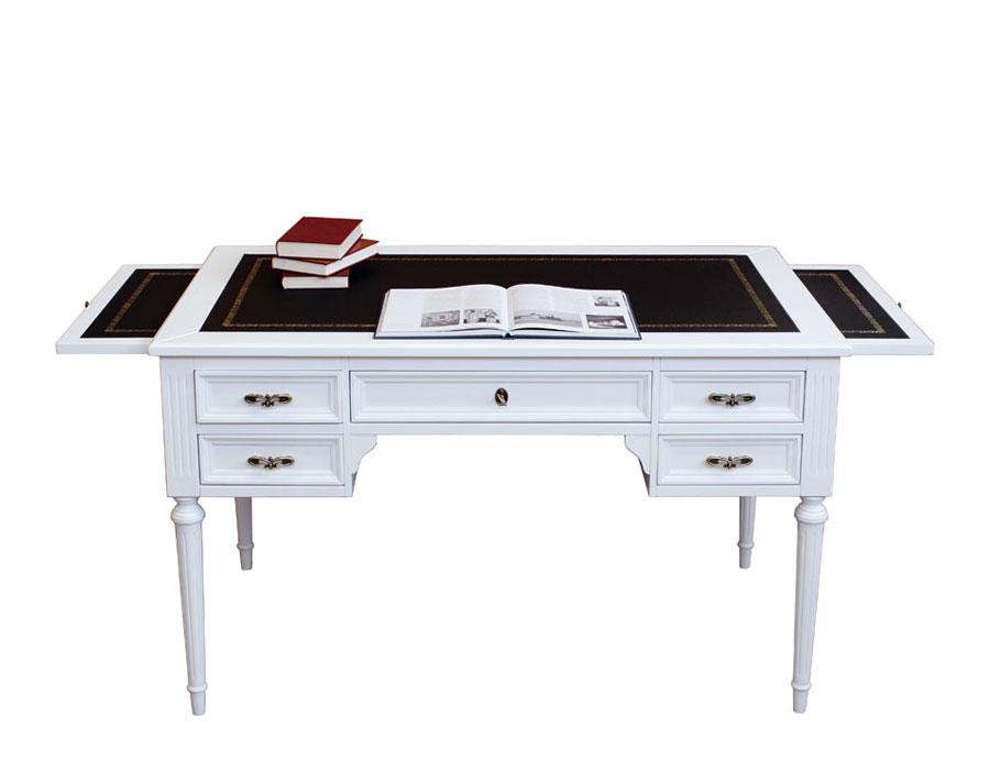 scrivania in legno laccata bianca con piano in pelle, scrivania laccata bianca con 5 cassetti e due tiretti