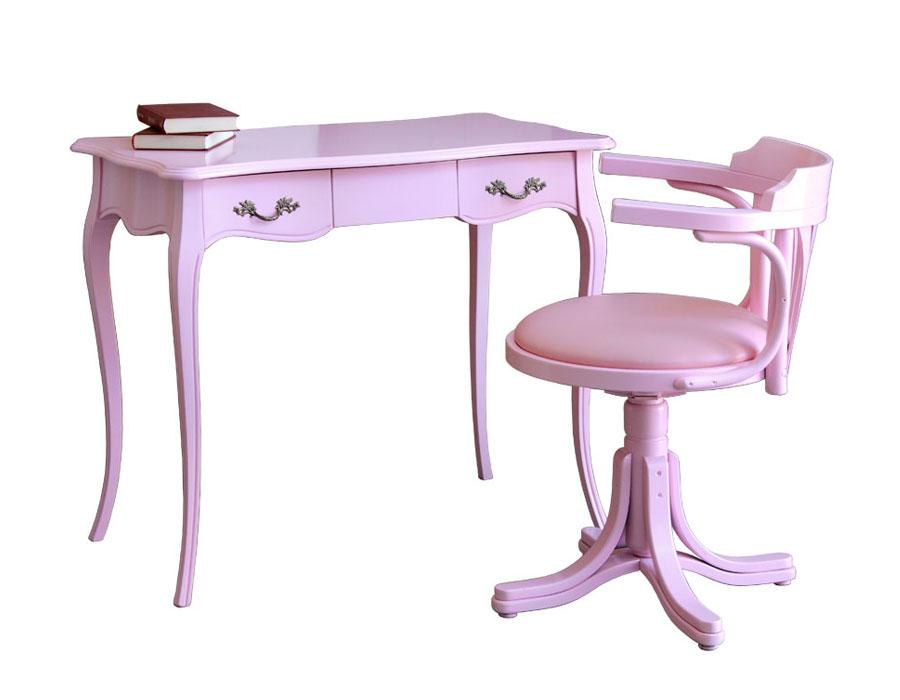 scrittoio e sedia laccati rosa