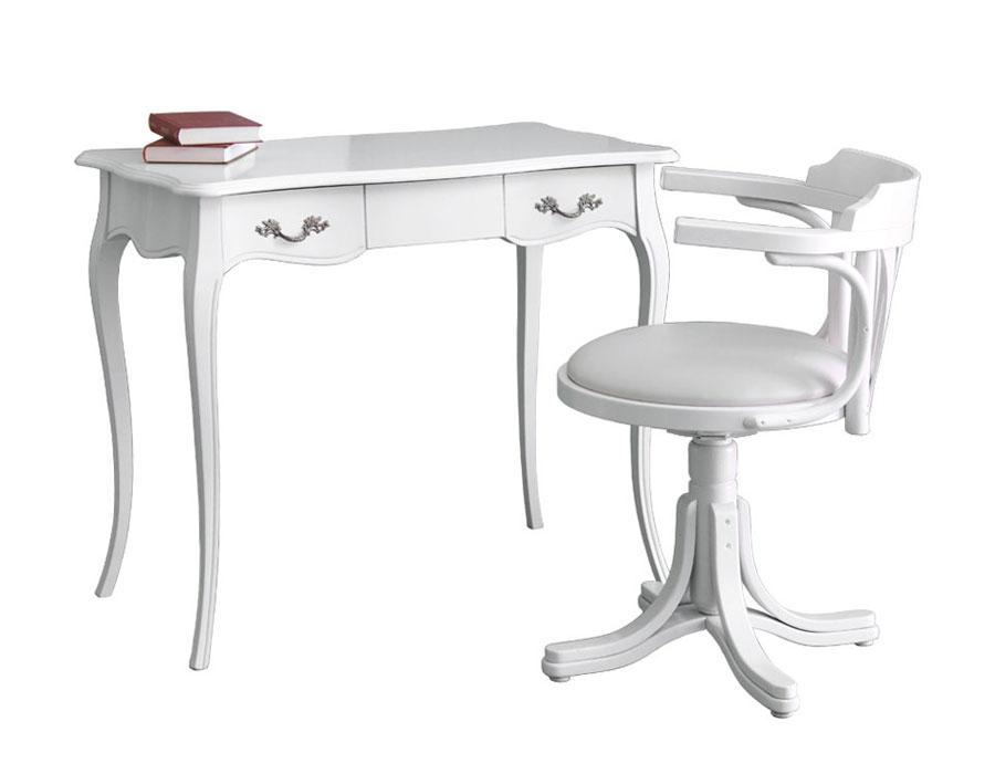 scrittoio, sedia, scrittoio con sedia laccato bianco, scrittoio e sedia da ufficio o studio