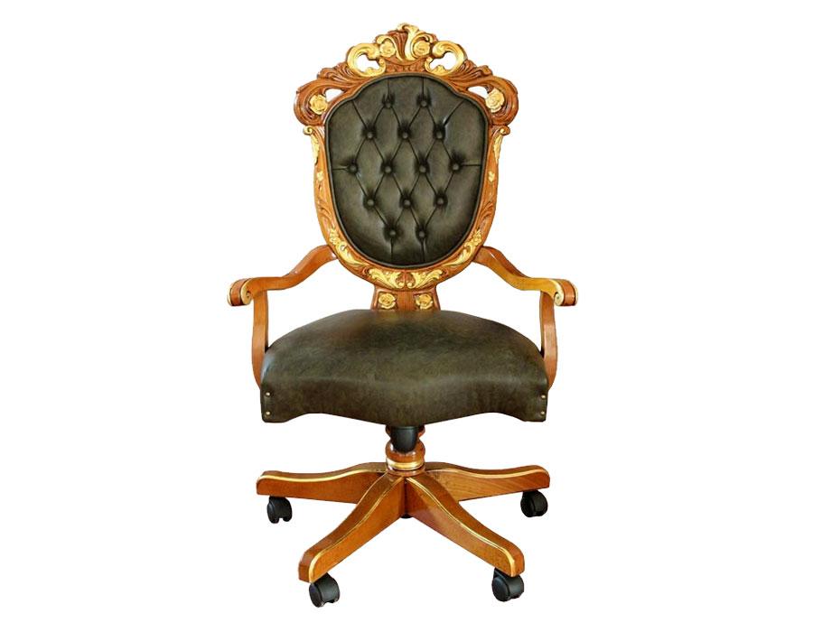 poltrona girevole per ufficio, poltrona con dettagli in foglia oro, poltrona girevole elegante