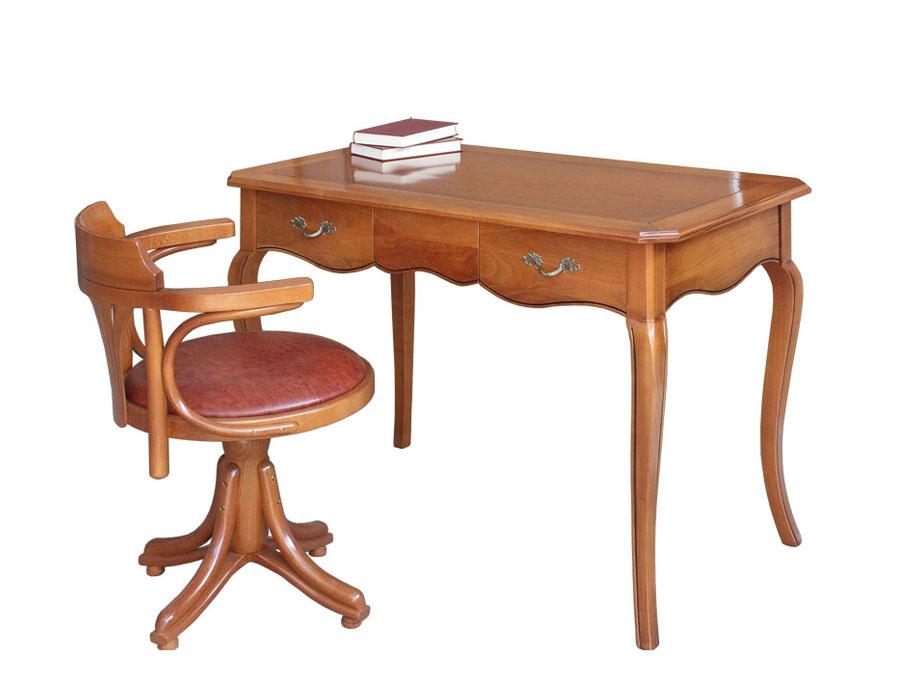 scrittoio in legno massello con due cassetti, scrittoio da studio