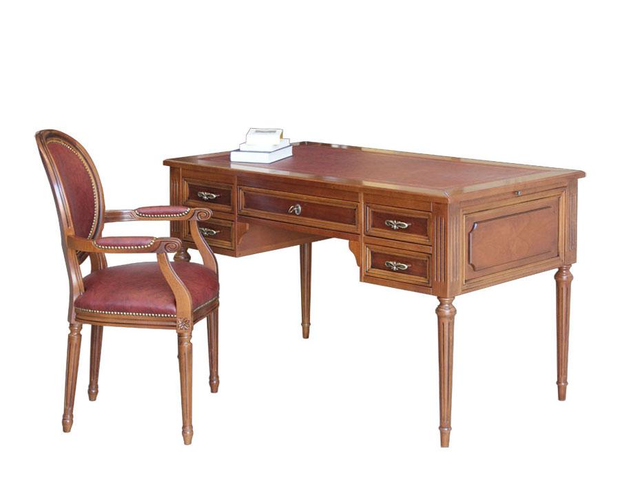 scrivania da studio, scrivania per ufficio, scrivania in legno tinta ciliegio chiaro