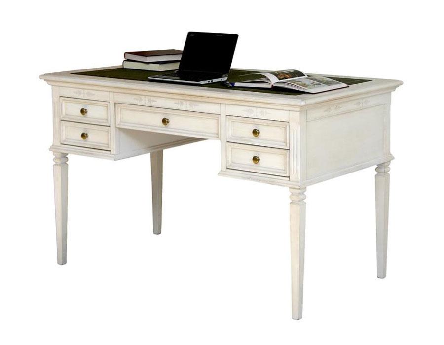 Scrivania bianca classica, scrivania da ufficio