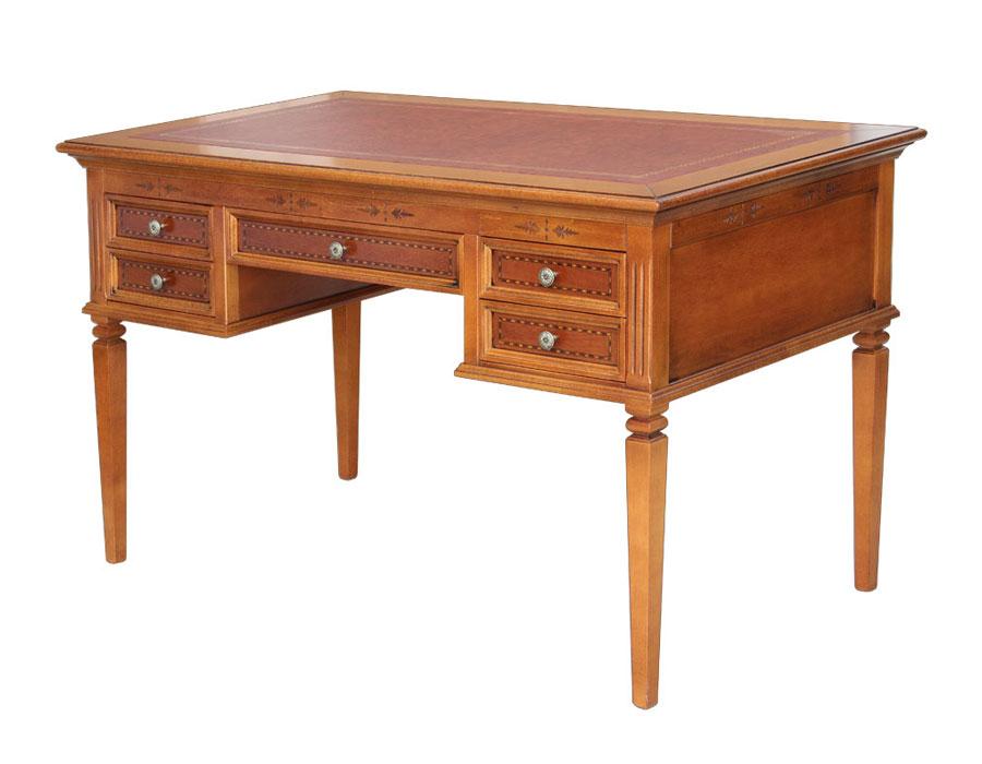 Scrivania in legno intarsiata, scrivania tinta ciliegio chiaro, scrivania in legno