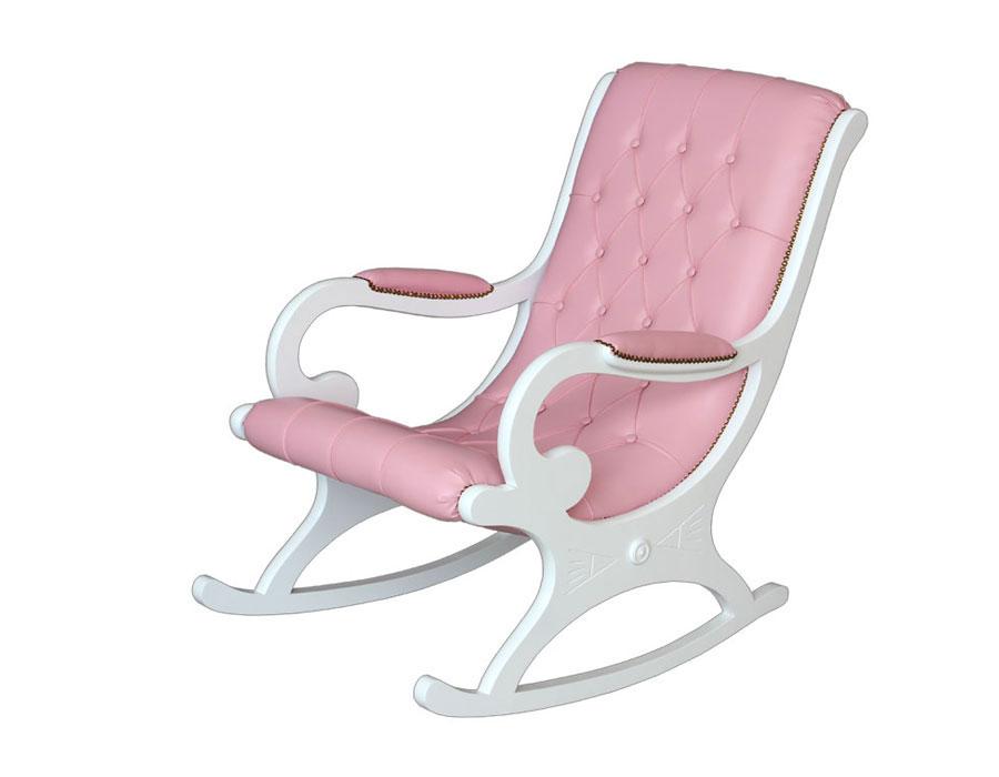 Poltrona a dondolo laccata bianca uniforme ed ecopelle rosa