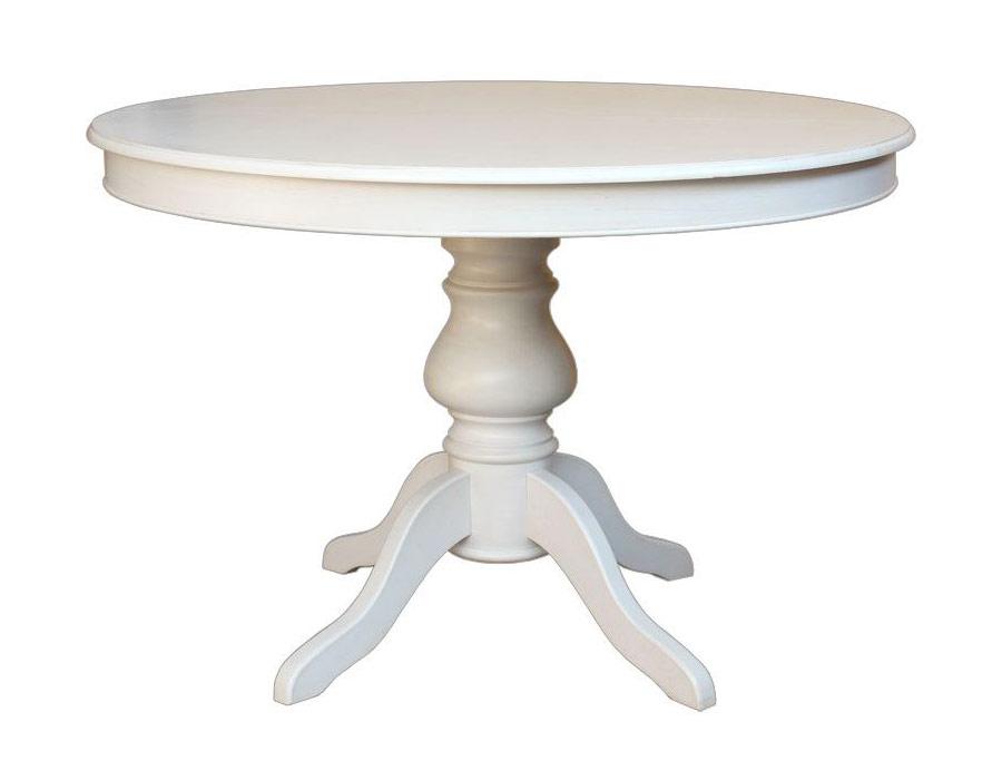 Tavolo rotondo con gambone centrale laccato bianco